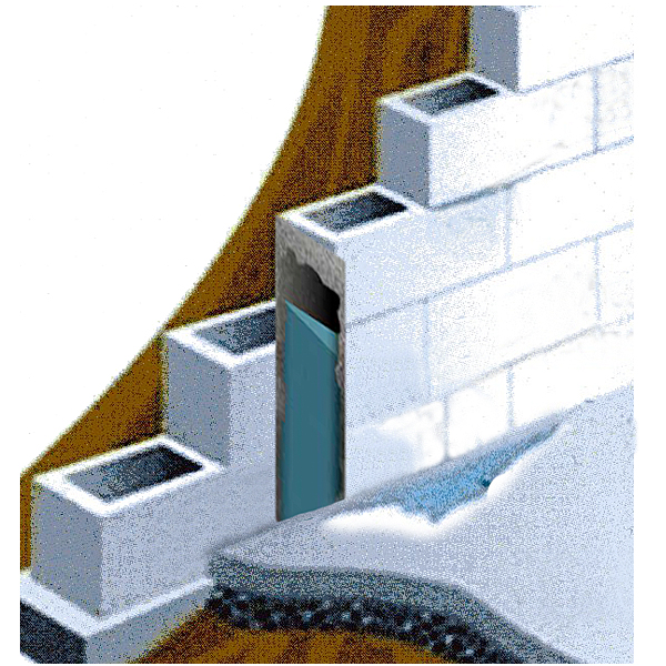 block wall seepage for mailer