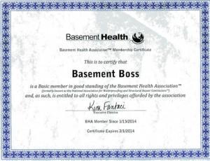 Basement Health membership certificate for website