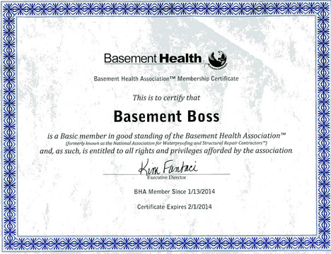 Basement Health Membership Certificate For Website